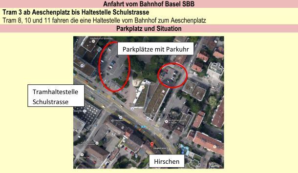 Hirschen in Basel, Lageplan und Anfahrt